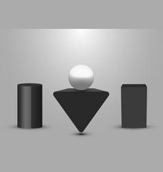 3d realistic black geometric pedestal triangle vector