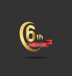 6 years anniversary logo style with swoosh ring vector