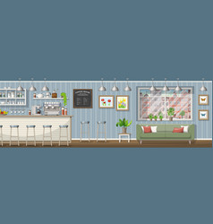 A classic coffee shop panorama vector