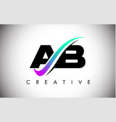 Ab letter logo with creative swoosh curved line vector