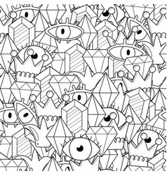 abstract doodles black and white seamless pattern vector image