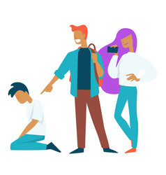 abuse and bullying teenager problem filming on vector image