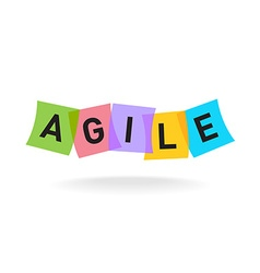 Agile word logo letters with overlay color vector