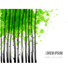 background with green forest trees and place for vector image