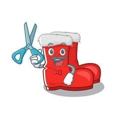 Barber santa boots stored in mascot cupboard vector