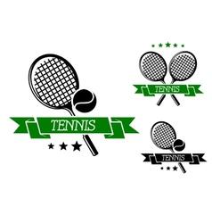 Big tennis sporting emblem vector image