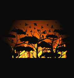 birds silhouettes flying over wildfire forest vector image