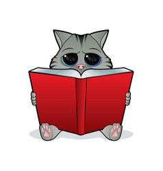 Book reading cat vector