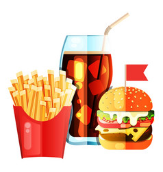 burger and soda and fry french vector image