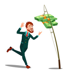 Businessman catching money hanging on the hook of vector