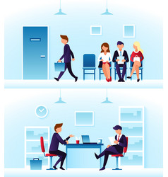 Businessmen diverse employees waiting interview vector