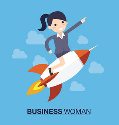 Businesswoman over a rocket vector