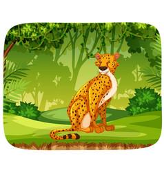 Cheetah in jungle scene vector
