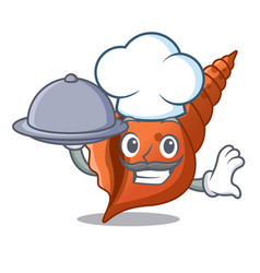 Chef with food long shell mascot cartoon vector
