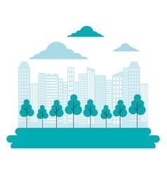 city building trees park landscape vector image