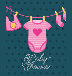 Clothes for little girl hanging baby shower card vector