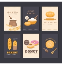 Collection cards shop bakery vector