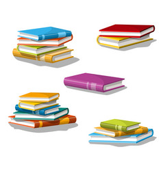 Collection of different stacked books vector