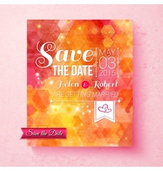 Colorful vibrant Save The Date wedding invitation vector image
