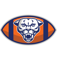 Cougar Mountain Lion Football Ball Retro vector image