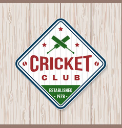 cricket club patch or sticker concept for vector image