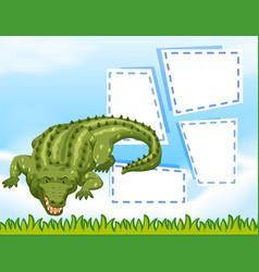 Crocodile blank frame template vector