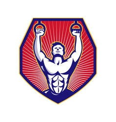 Crossfit Training Athlete Rings Retro vector