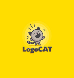 cute cat logo on a yellow background vector image