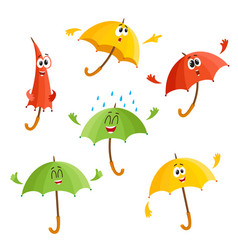 Cute funny umbrella characters with human face vector