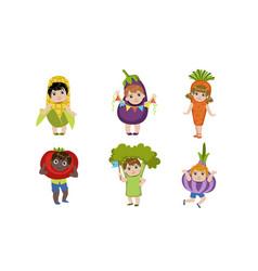Cute little kids dressed as vegetables set corn vector