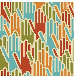 Diversity hands up seamless pattern vector