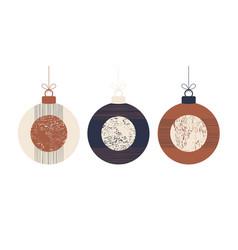 doodle boho christmas concept balls set vector image