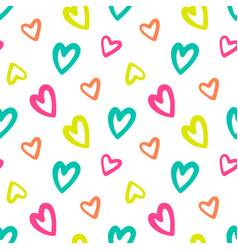 doodle hearts seamless pattern background vector image