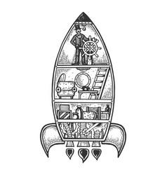 Fantastic fabulous spaceship engraving vector