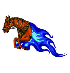 fire horse or devil stallion symbol with head of vector image