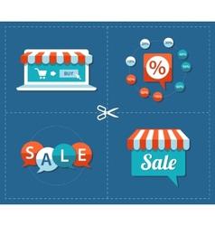 flat design sale tags set vector image