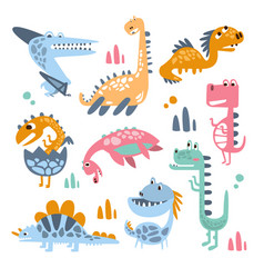 funky stylized dinosaurs real species and vector image