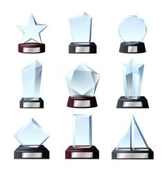 Glass winner awards crystal sport trophy prizes vector