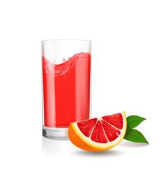 Grapefruit juice in glass red juice splash vector