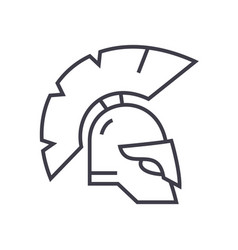 greece helmet line icon sign vector image