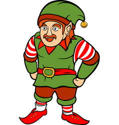 green christmas elf with mustache vector image