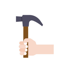 hand holding hammer flat design vector image