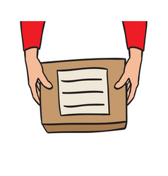 hand holding package delivery parcel vector image
