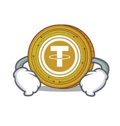 Hand on waist tether coin character cartoon vector