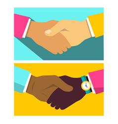 handshake flat design icon vector image