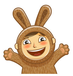 happy child in costume rabbit bunny hare cartoon vector image