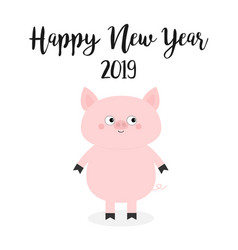 happy new year 2019 pig pink piggy piglet chinese vector image