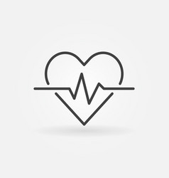 Heart cardiogram outline icon - heartbeat vector