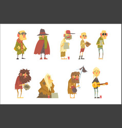 homeless men characters set unemployment and vector image