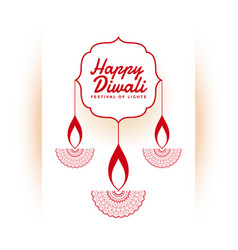 indian happy diwali festival white background vector image